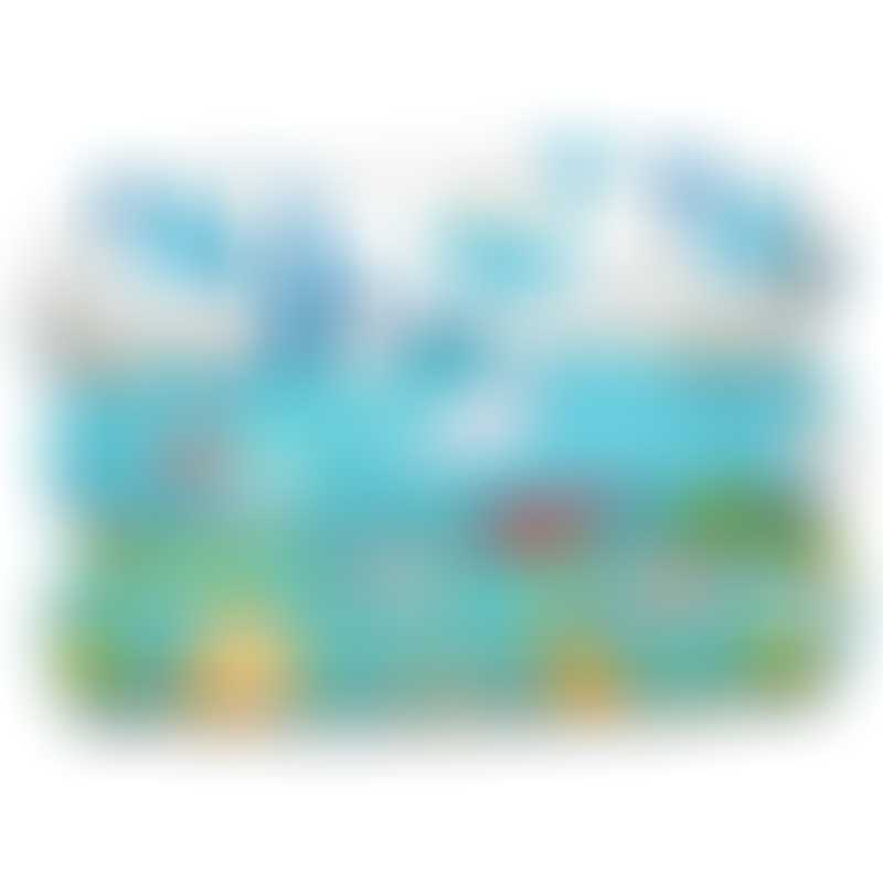 Charlie Banana 3 Diapers 6 Hemp Inserts - Organic Florida Safari Blue (One Size)