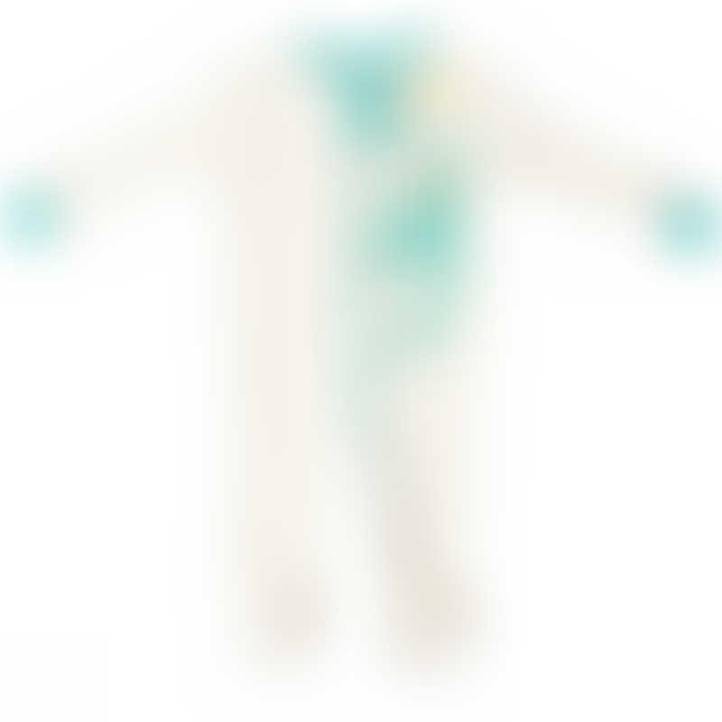 Baby Hero Monkey Footie - Turquoise, 100% Organic Cotton 0-3m / 3-6m