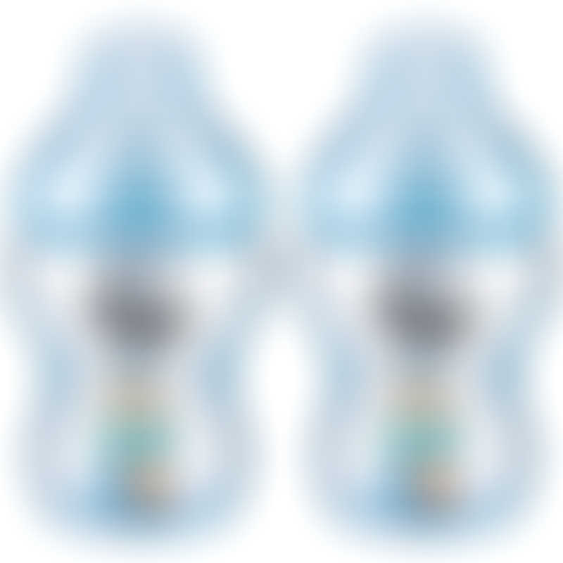 Tommee Tippee Closer to Nature PP Tinted Decorated Bottle 260ml - Blue (Twin Pack)