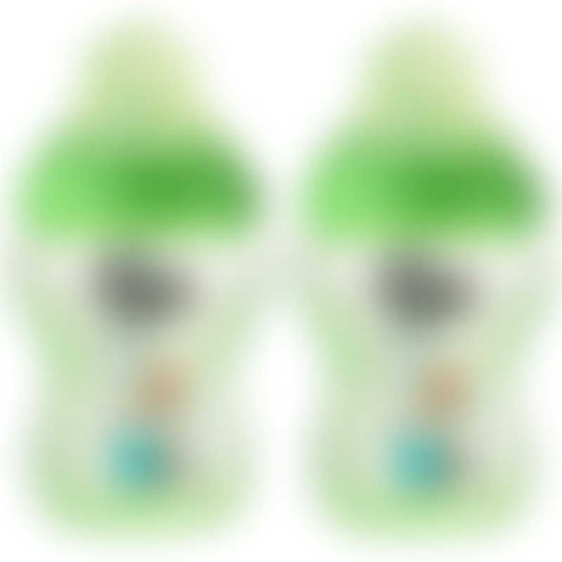 Tommee Tippee Closer to Nature PP Tinted Decorated Bottle 260ml - Green (Twin Pack)